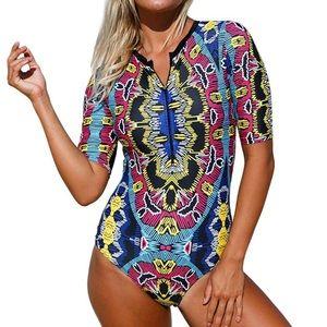 Other - Short sleeve zip up swim suit